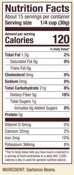 Chickpea flour nutrition label